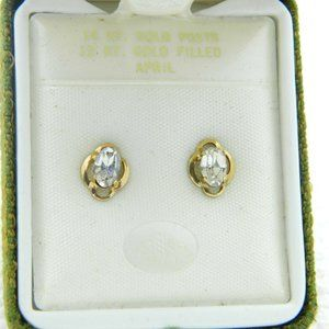 14k Gold Post 12k Gold Filled Clear CZ Rhinestone
